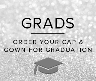 Sparkling background with picture of graduation cap. Grads, click to order your cap and gown for graduation.